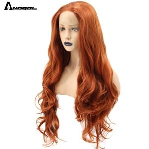 Image 3 - Anogol fibra de alta temperatura parte livre laranja natural longo corpo onda de cobre vermelho sintético peruca dianteira do laço para mulher branca