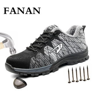 FANAN 2020 Men's Outdoor Mesh Light Breathable Safety Sneakers  Big Size Men and Women Safety Puncture-Proof Boots Dropshipping