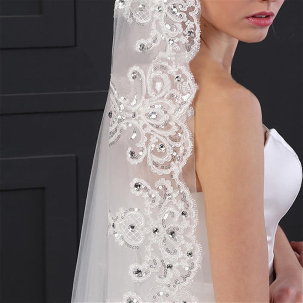 Une couche Tulle cathédrale mariage voile avec peigne dentelle bord strass 2020 mariée accessoires de mariée 3M de Long blanc ivoire - 4