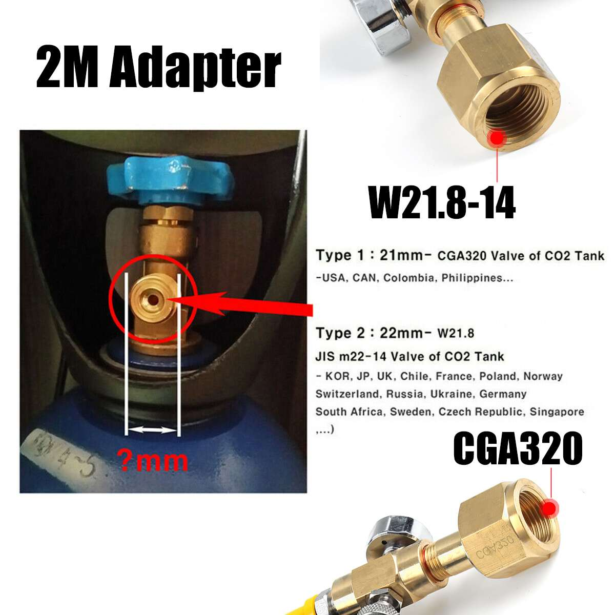 Soda Club External Hose 2M Adapter Gauge to CO2 Tank Home Soda Maker W21.8-14 Or CGA320 for Fizzi Sparkling Water