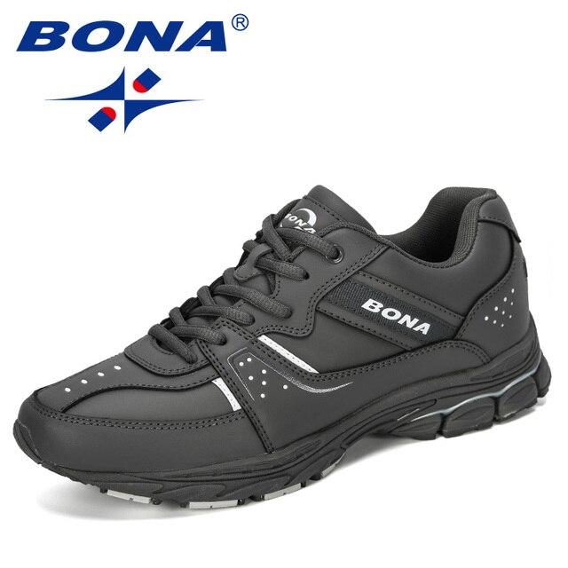 BONA 2019 Novos Designers de Separação Da Vaca Tênis de corrida Ao Ar Livre Calçados Esportivos Homens Sneakers Shoes Athletic Training Calçado Homem Comfortabe