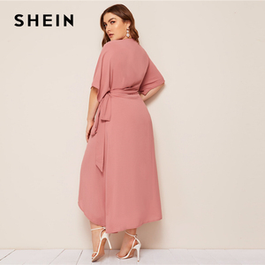 Image 2 - SHEIN Plus Rosa tamaño sólido Surplice cuello abrigo con cinturón Maxi Vestido Mujer otoño Kimono manga A línea alta cintura elegante vestidos
