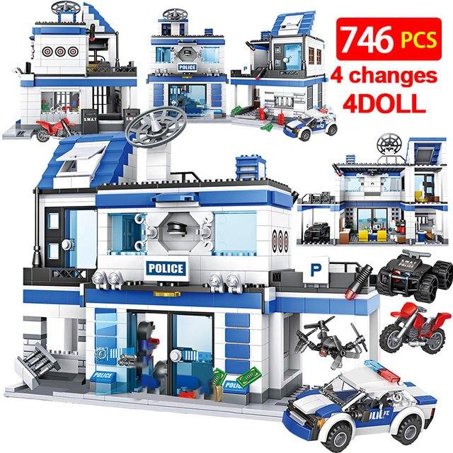 746 Uds comisaría de policía de bloques de construcción de helicóptero militar SWAT WW2 coche equipo de ladrillos juguetes educativos para niños