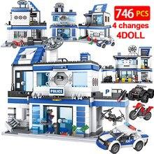 746 pçs cidade polícia estação blocos de construção militar helicóptero swat ww2 carro equipe tijolos brinquedos educativos crianças