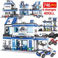 746 pièces poste de Police de la ville 4 en 1 blocs de construction Legoing militaire SWAT WW2 hélicoptère voiture équipe briques jouets éducatifs pour les enfants