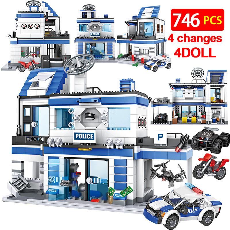 746PCS City Police Station Building Blocks Military Helicopter SWAT WW2 Car Team Bricks Educational Toys Children