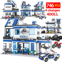 746PCS City Police Station 4 IN 1 Building Blocks Legoing Military SWAT WW2 Helicopter Car Team Bricks Educational Toys for Kids