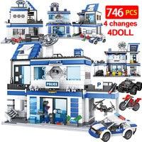 Blocos de construção da polícia da cidade  746 un.  blocos de construção  swat  ww2  carro  equipe  tijolos educativos  brinquedos para crianças