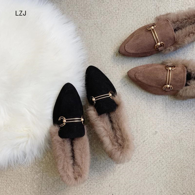 LZJ New 2019 Women's Pointed Shallow Mouth Set Foot Short Plush Warm Fashion Snow Boots Women's Winter Shoes Zapatos De Mujer 45
