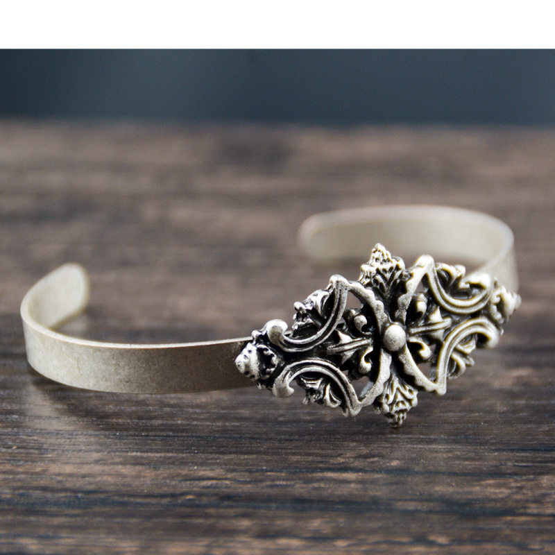 50pc Vintage argent victorien brossé fleur Bracelet ethnique manchette Bracelet charme bijoux pour femmes cadeau
