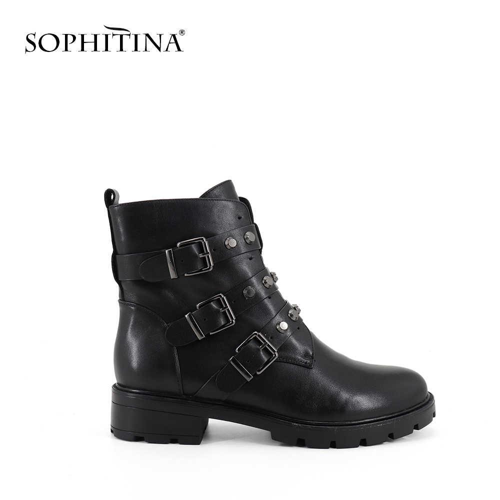 SOPHITINA moda toka yeni kadın botları yüksek kalite hakiki deri yuvarlak ayak sıcak satış ayakkabı el yapımı yeni yarım çizmeler SC277