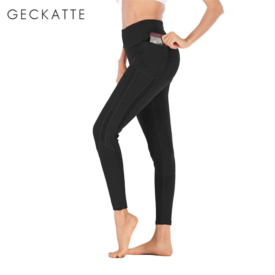 GECKATTE Pocket Workout Leggings Women Fitness Leggins Mujer High Waist Elasticity Push Up Legging Pants Sportswear Activewear