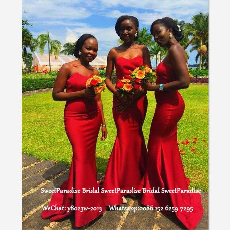 Red Satin Long Bridesmaid Dresses Mermaid Vestido Madrinha Customize Sweetheart Neck Wedding Guest Dress Formal For Women