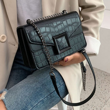 Fashion Stone Pattern Pu Women Shoulder Bags Casual Solid Color Crossbody Bags For Lady Retro Small Flap Bag Chain Shoulder Bag