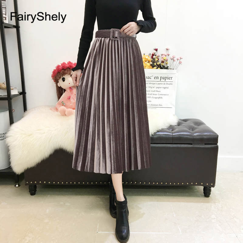 FairyShely 2020 Vintage Velvet Pleated Long Skirt Women High Waist Midi Skirt Korean Black Elastic Band Belt Maxi Skirts Womens