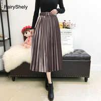 Fairyshely 2020 vintage veludo plissado saia longa feminina cintura alta midi saia coreano preto elástico cinto maxi saias das mulheres