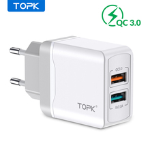 TOPK B244 Quick Charge 3.0 18W USB Charger for iPhone Xs X 8 7 Fast Phone Charger for Samsung Xiaomi Wall Charger EU