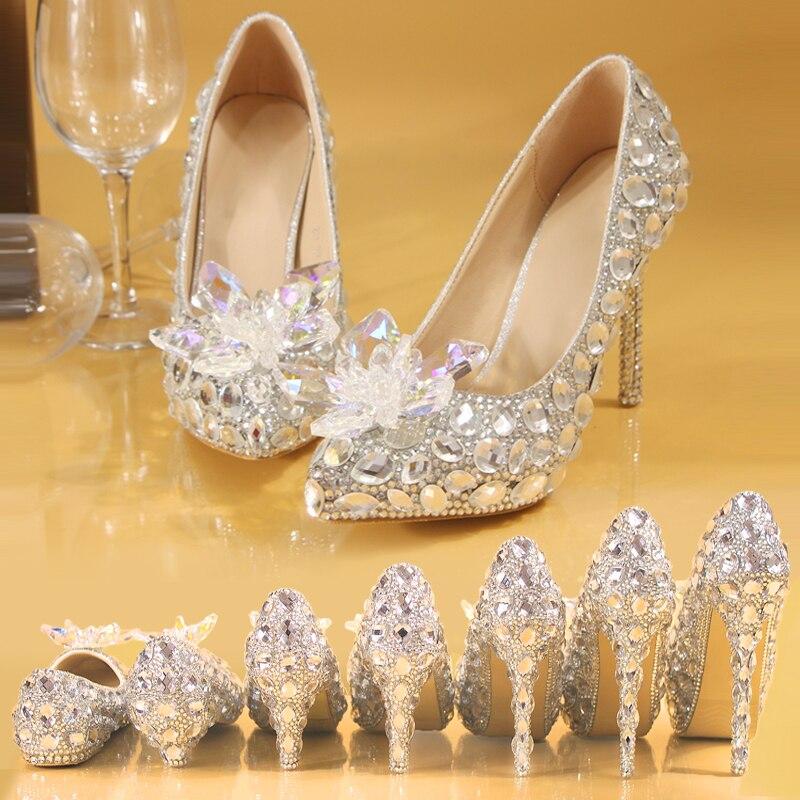 Argent cristal chaussures de mariage strass perle perlée femmes pompes bout pointu haut talon fête Banquet robe de soirée demoiselle d'honneur
