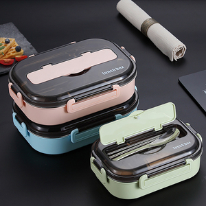 304 Stainless Steel Thermos Lunch Box for Kids Gray Set Bento Box Leakproof Japanese Style Food Container Thermal Lunchbox