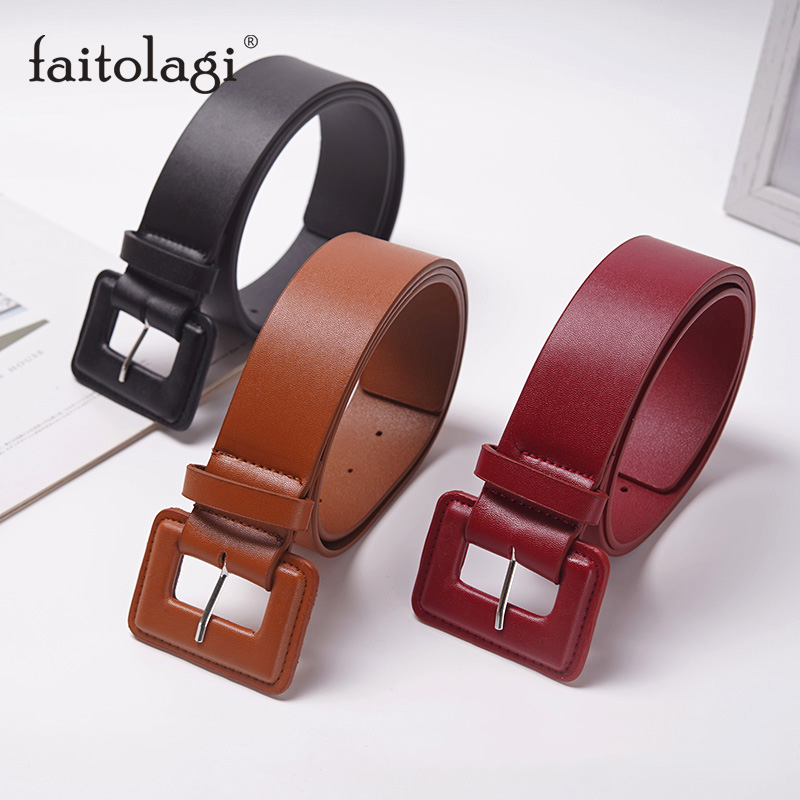 PU Leather Wide Female Strap Belt Luxury Square Buckle Women Waist Belt Black Brown Red Ladies Dress Coat Waistband Riem
