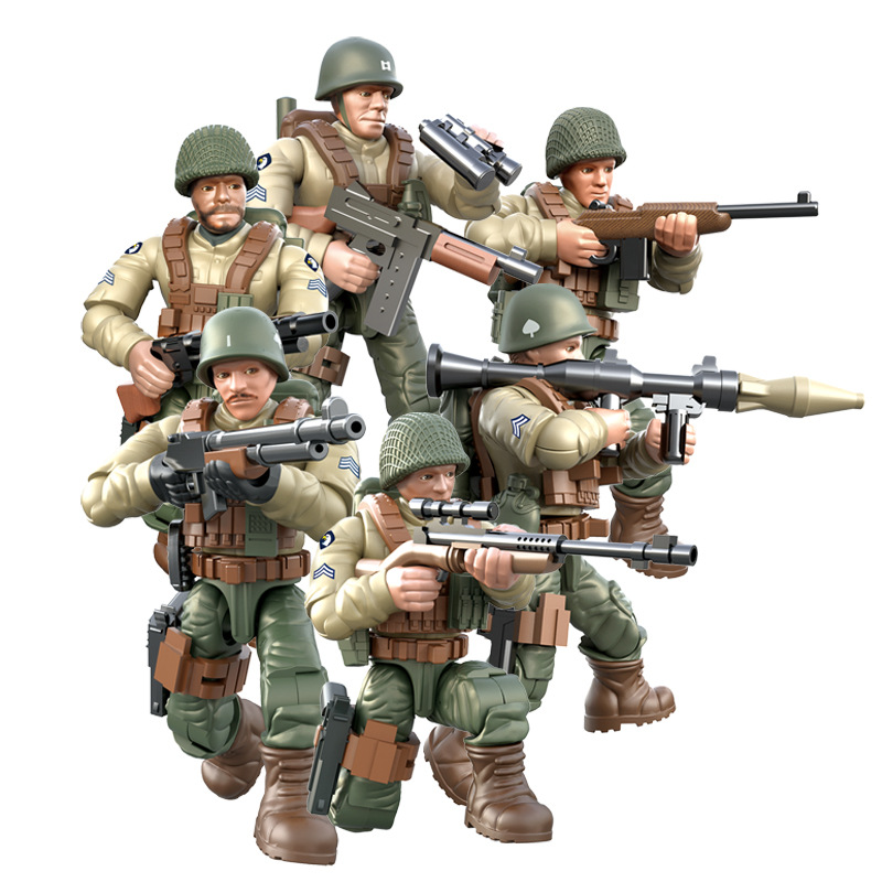 6Pcs World War 2 WW2 Army Military Soldier City Police SWAT With Weapon Accessories Figures Building Blocks Bricks Kids Toys