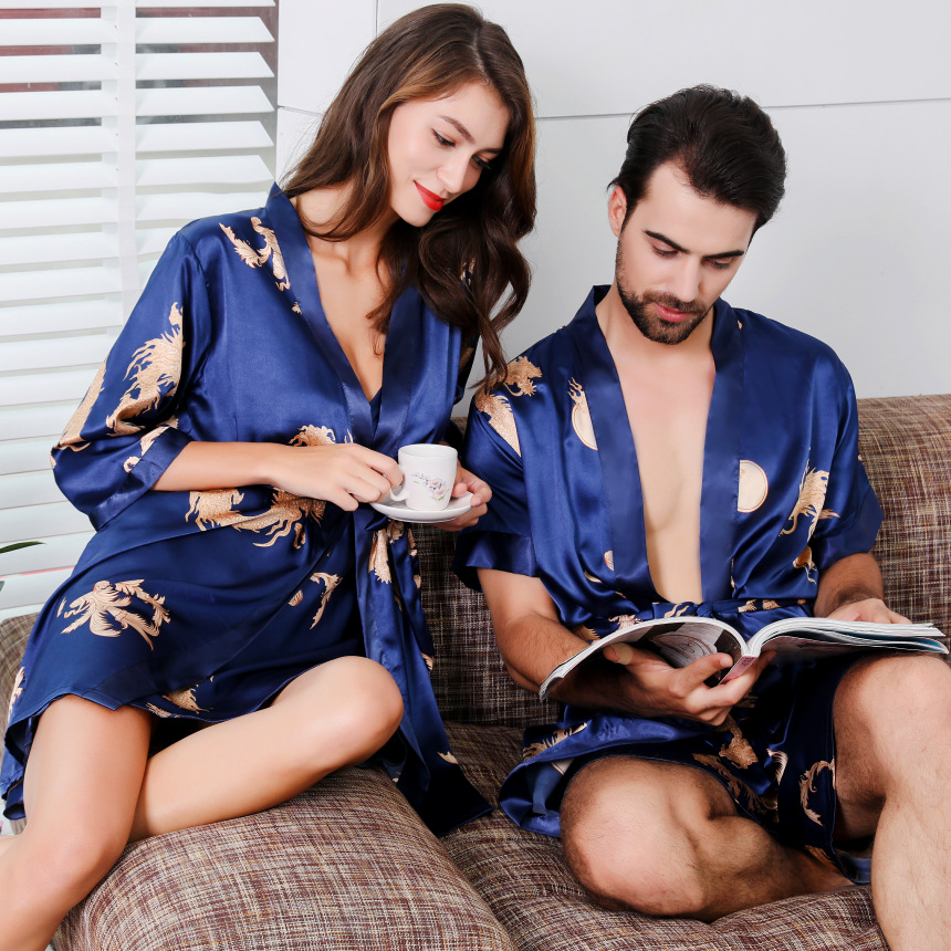 Women Nightgown Short Sleeve Shorts Men's Bathrobe Imitation Silk Kimono Pajama  Men Sexy Robe Home Service Couples Nightgown