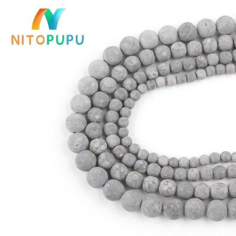 Натуральный матовый серый Maifan камень 4 6 8 10 мм круглые бусины для самостоятельного изготовления ювелирных изделий браслет ожерелье 15 ''Strand