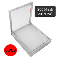 6pcs 200T Aluminium Polyester Silk Screen Printing Frame Stretched And White Polyester Mesh for Printed Circuit Boards 50x60cm