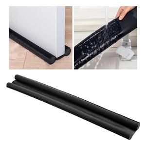 Twin Door Draft Stopper Weather Stripping Noise Blocker Window Breeze Blocker Adjustable Door Sweeps 36.61inch Black