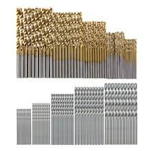 100/200 pièces 1.0-3.0mm tige droite titane enduit HSS forets hélicoïdaux travail du bois haute vitesse en acier foret ensemble d'outils