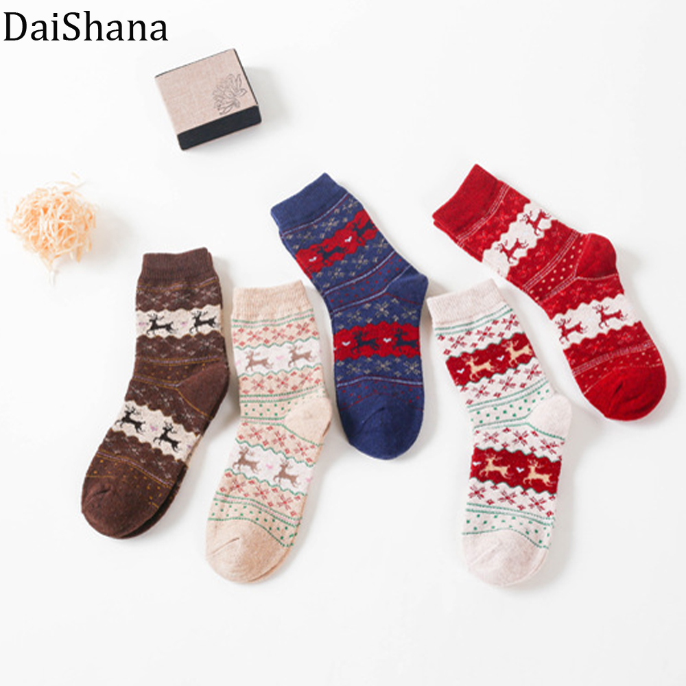 Hot Sale!Women Socks Christmas Socks Snowflake Deer Wool Unisex Sock Xmas Gift Harajuku Style Xmas Funny Casual Knit Wool Socks