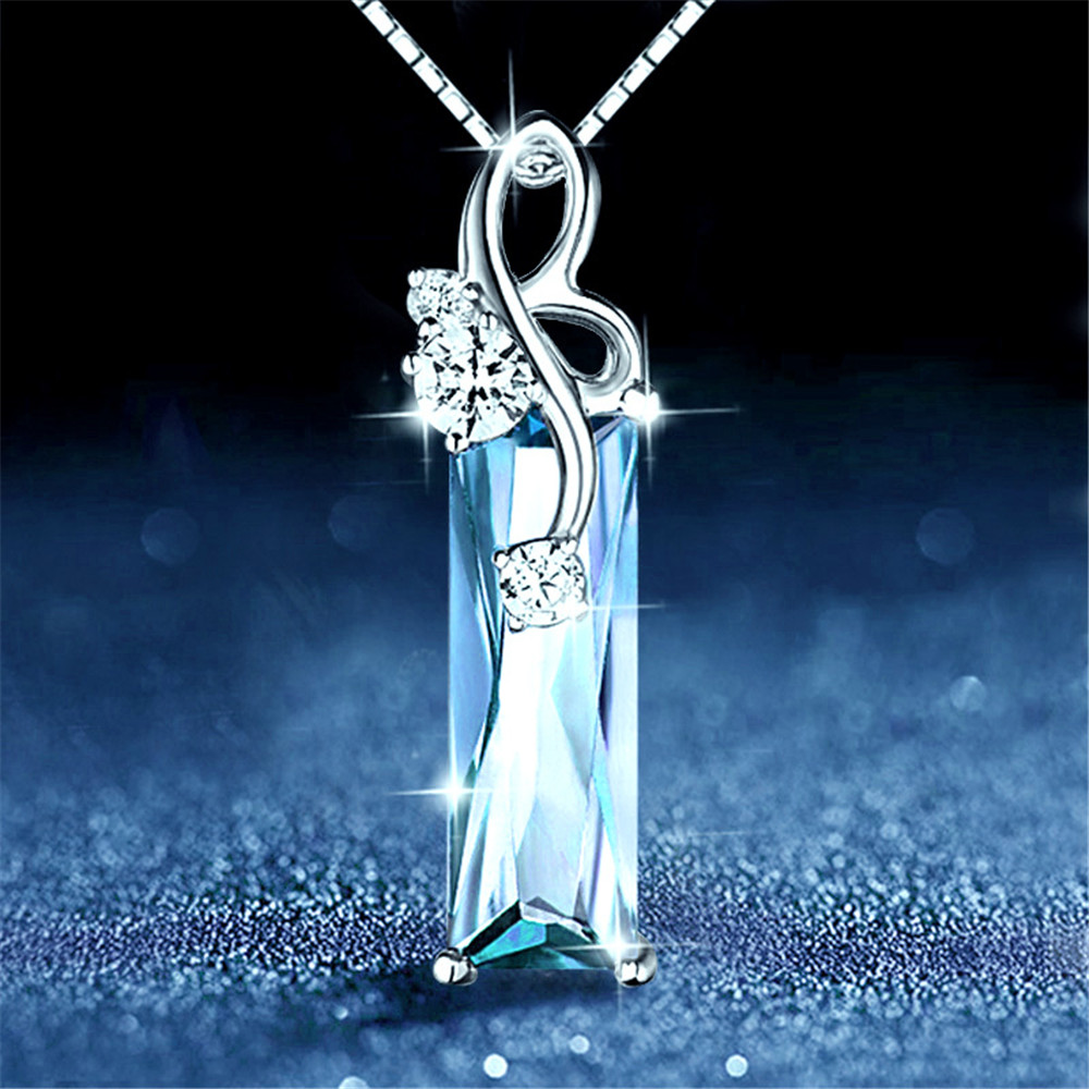 Aquamarine Gemstones Diamond Pendant Necklaces Women White Gold Silver Color Choker Chain Argent Jewelry Bague Bijoux Crysal
