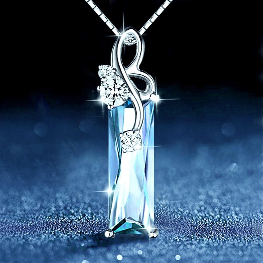 Aquamarine Gemstones Diamond Pendant Necklaces Women White Gold Silver Color Choker Chain Argent Jewelry Bague Bijoux Crysal