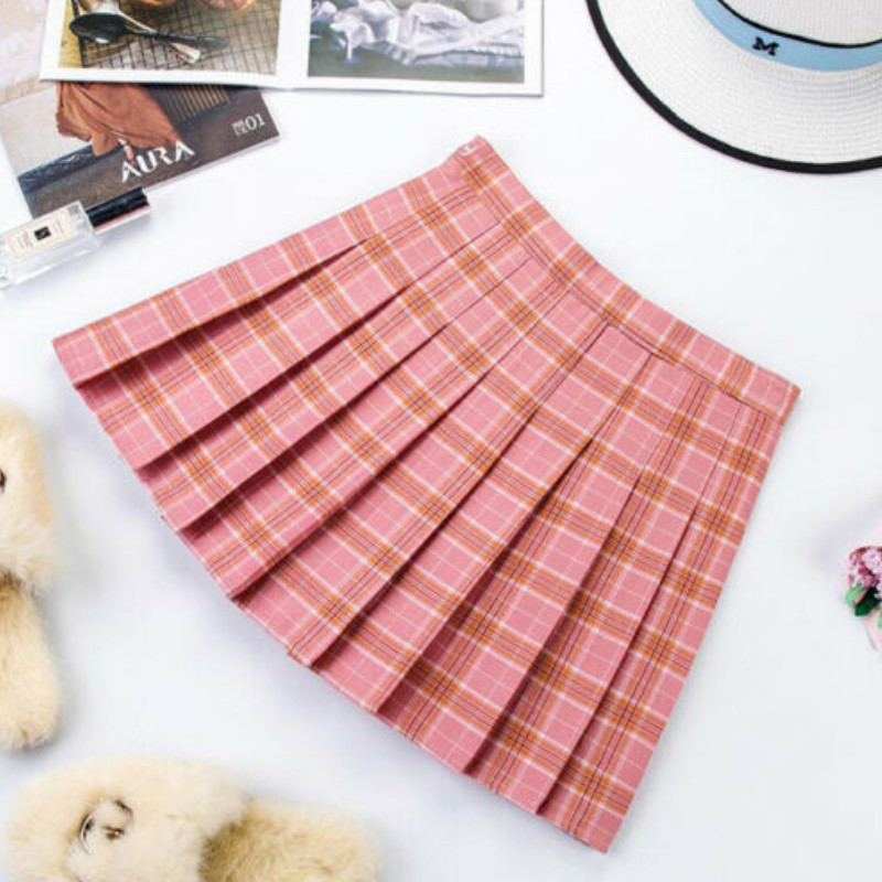 XS-XL Pink Women Skirt England Style High Waist Plaid Skirts Summer Student Pleated Skirt Women Cute Sweet Girls Casual Skirt