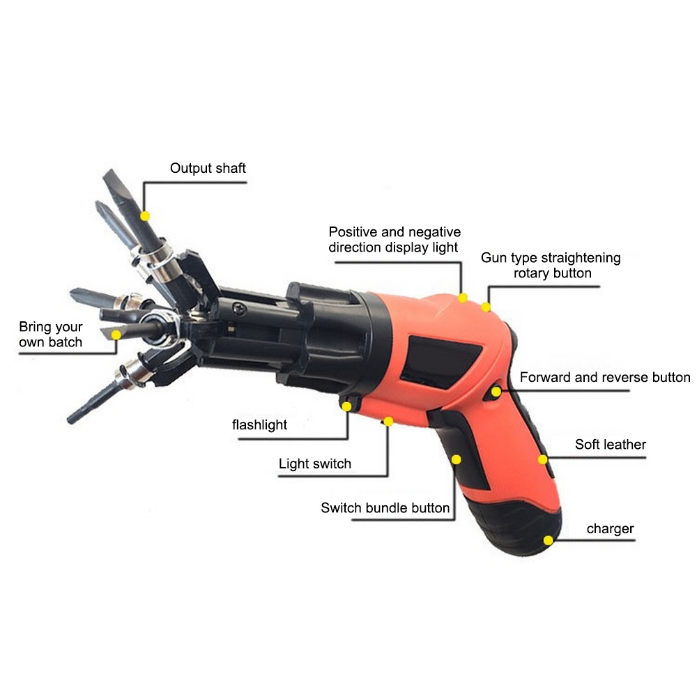 Hd9899a42c6ee4c36a34e43a575fdf744A - 3.6V Cordless Electric Screwdriver 6 In 1 Built-in Bits Mini Rotary Screw Driver Rechargeable Cordless Drill Power Tools