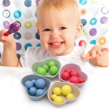 1 Set Math Enlightenment Toys Infant Exercise Clip Clip Beads Hand Baby Recognize Motion Compartmental Beans with Chopsticks