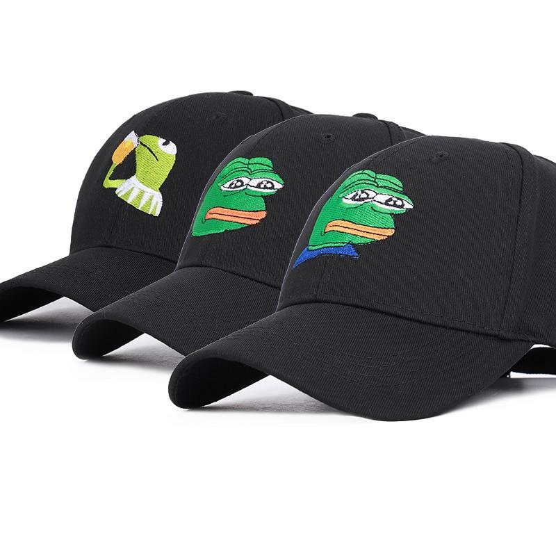 Dibujos Animados Rana gorra de béisbol hombres mujeres Hip Hop papá sombrero Negro Unisex Casual gorras Negro