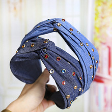 Vintage Denim Headband For Women With Colorful Rhinestone Cross Hairband Wide Hair Band Hoop Accessories