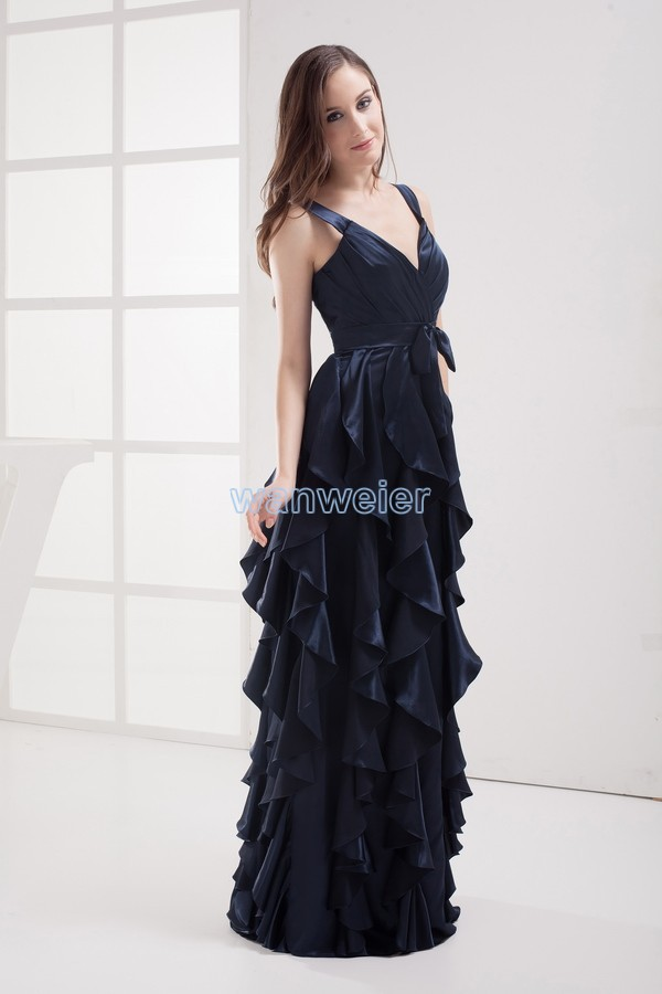 Maxi Draya 2018 New Design Floor-Length Vestidos Formales Long Gown Customized Sation Tiered Evening Mother Of The Bride Dress