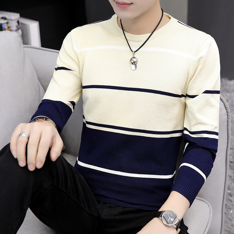 2021 Autumn Men's Casual round Neck Striped Sweater Youth Color Matching Base Thin Sweater 2