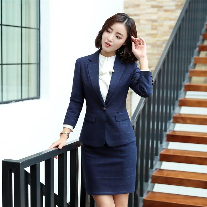female elegant Women's Blue Plaid Pants Suit trouser dress Blazer costumes jacket Suits ladies office wear blouse 2 pieces Set