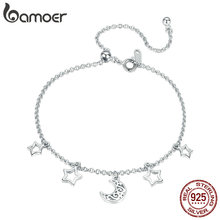BAMOER Fashion New 925 Sterling Silver Moon And Star Chain Link Bangles Bracelets for Women Sterling Silver Jewelry SCB107 cheap GDTC CN(Origin) Chain Link Bracelets 925 Sterling Zircon adjustable bracelet Engagement TRENDY Other Artificial material
