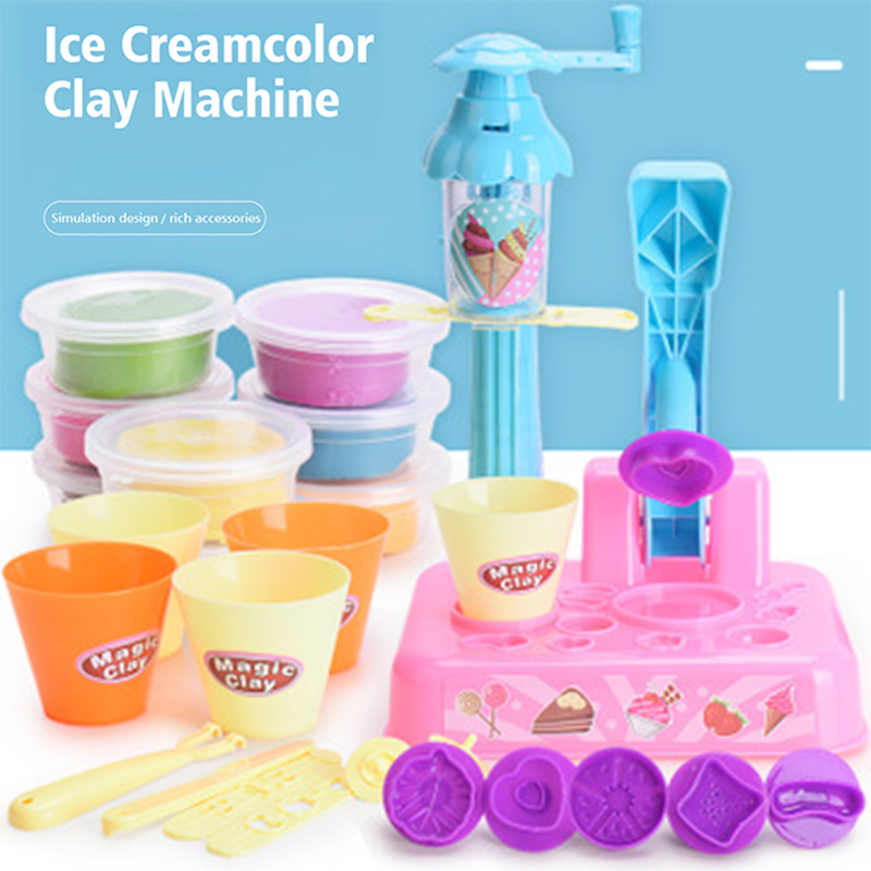 DIY Plasticine Mould Colored Clay Kids Set Puzzle Baby Toys Ice Cream Machine Mould Clay Toy Gift For Girl Boy Children