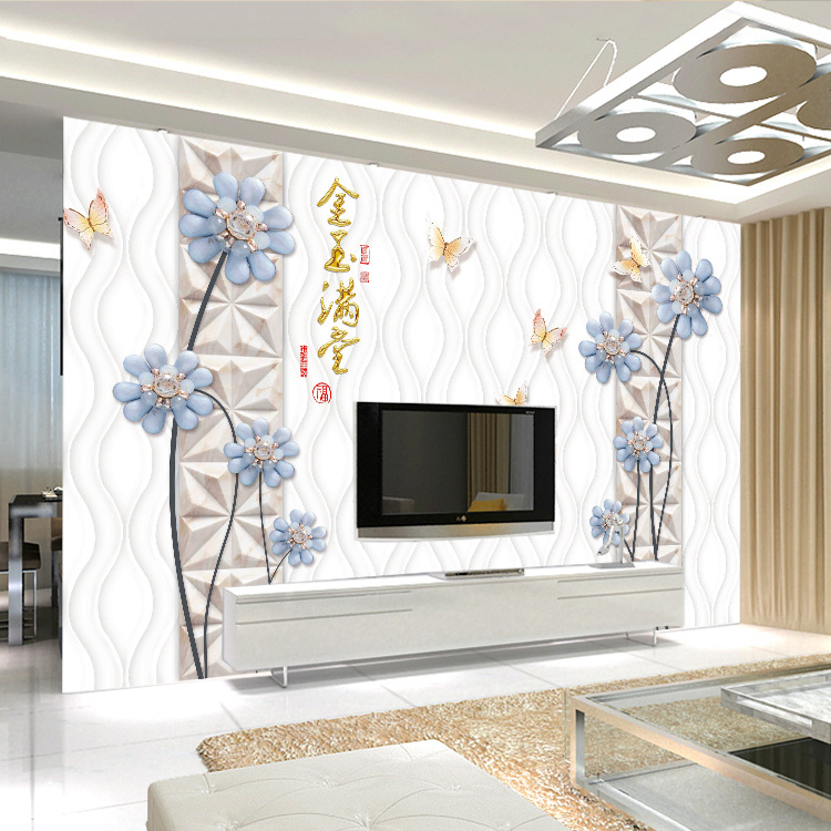 3D Modern European Style Living Room Television Background Wall Wallpaper Mural Seamless Nonwoven Fabric TV Wall Feast Mural