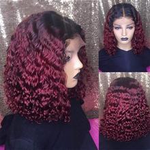 Perucas de cabelo humano perucas de cabelo encaracolado curto para as mulheres ombre marrom 13x4 frente do laço perucas de cabelo humano pré arrancadas t parte borgonha remy