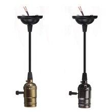 Vintage Base de lámpara Edison colgante luz titular AC85-240V E27 LED rosca de bombilla Socket Base Cable para incandescente Retro