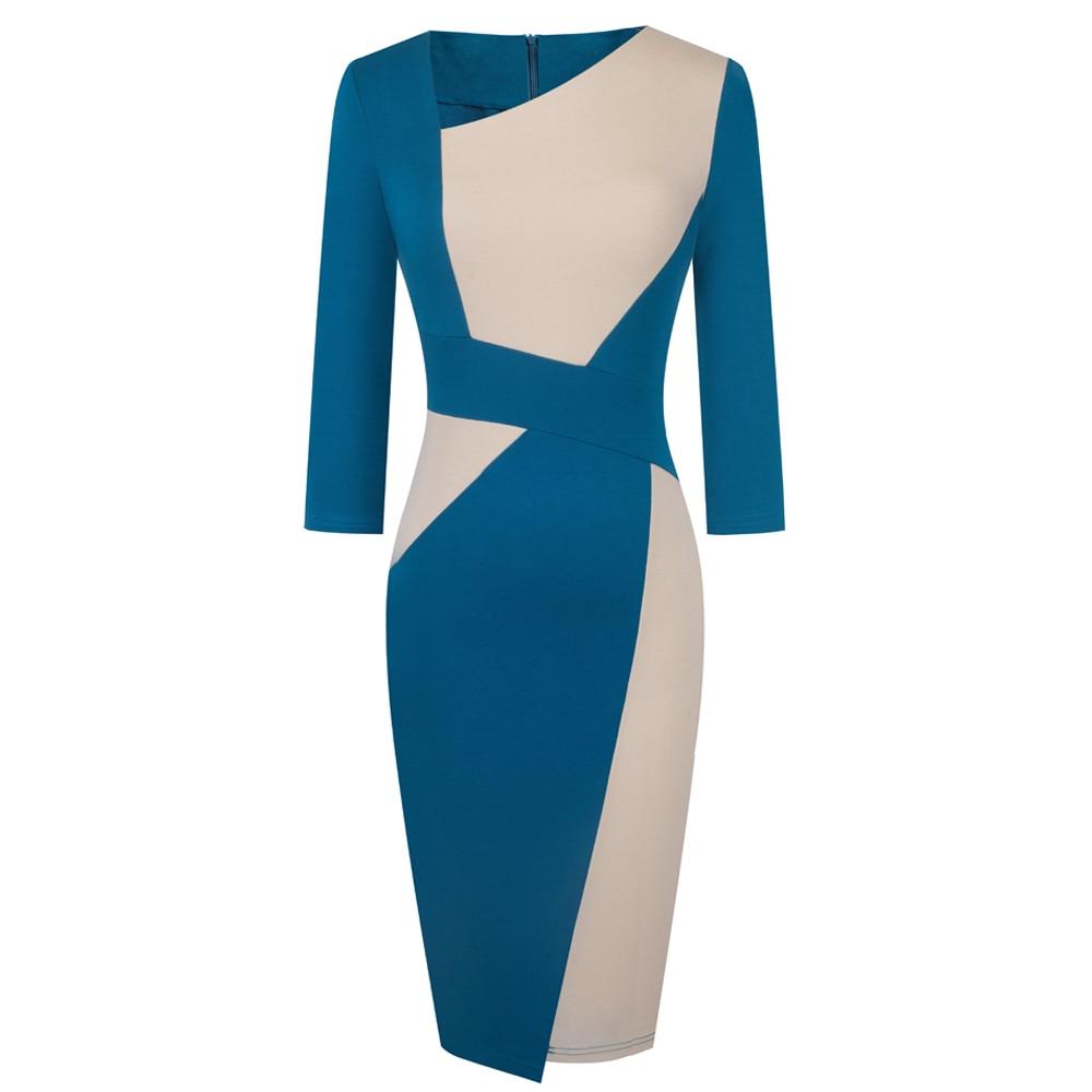 Vintage Women Patchwork Asymmetrical Collar Elegant Casual Work Office Sheath Slim Dress EB517 9