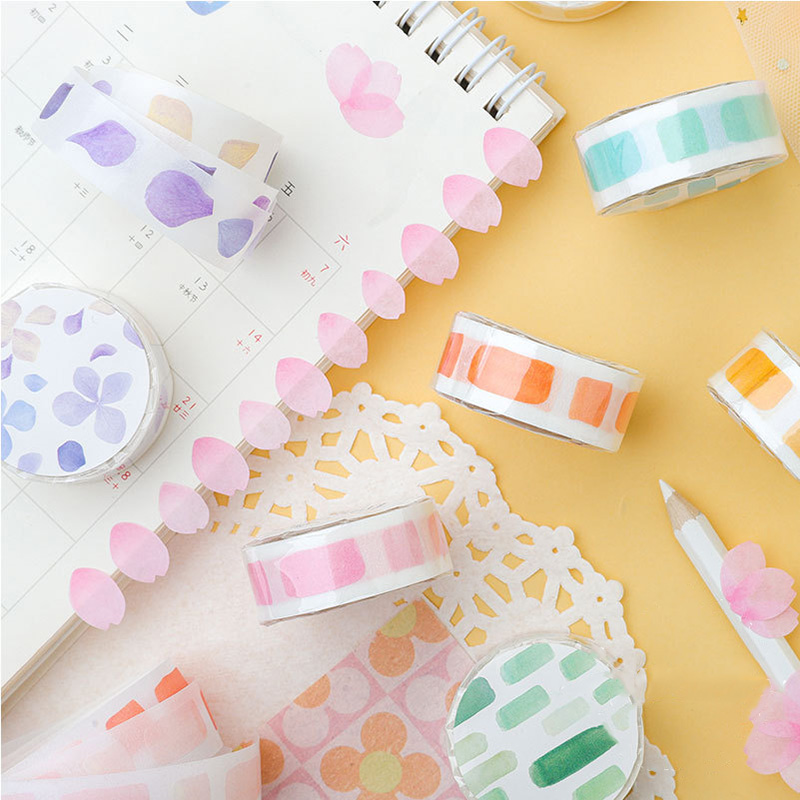 1Pc Decorative Adhesive Stickers Tape Kawaii Petal Washi Tape Cute Masking Tapes For Kids Scrapbooking DIY Stationery