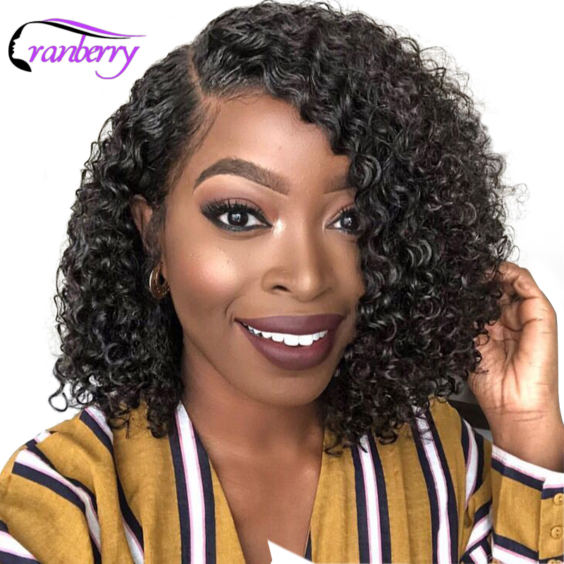 Cranberry Hair 13X4 Lace Front Wig Curly Human Hair Wig Brazilian Hair Lace Front Human Hair Wigs Remy Hair Bob Lace Front Wigs