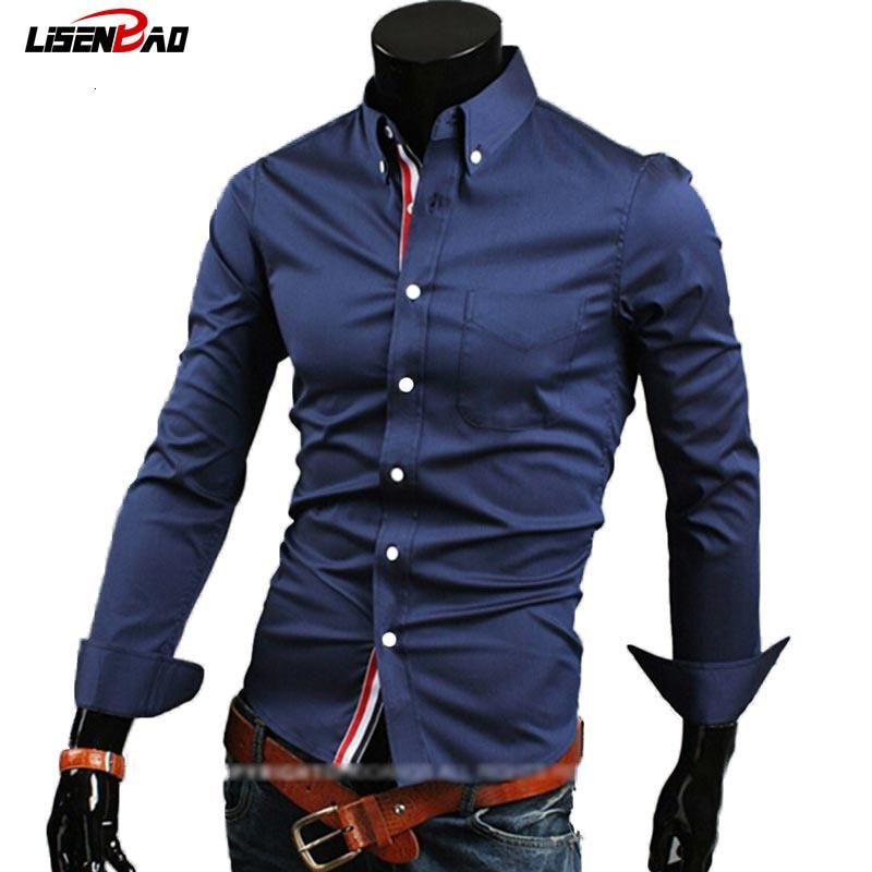 2019 Hot Men Fashion Long Sleeved Shirt Business Casual Slim Fit Long Sleeved Shirts Dress Shirt Men Clothing Cheap Shipping